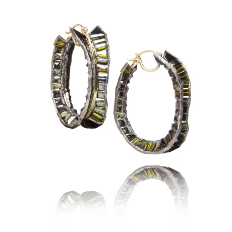 Nak Armstrong hoops in silver and 18k gold with dark green tourmaline
