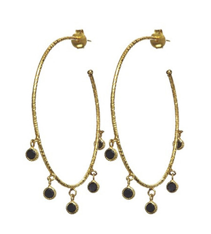 Gioielli by Nikki Baker 18k gold hoops with black diamonds