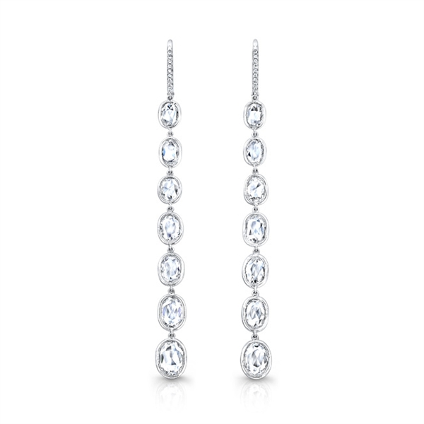Rahaminov rose-cut diamond line earrings