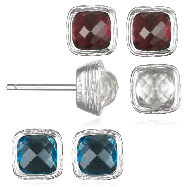 Arive colored gemstone button earrings