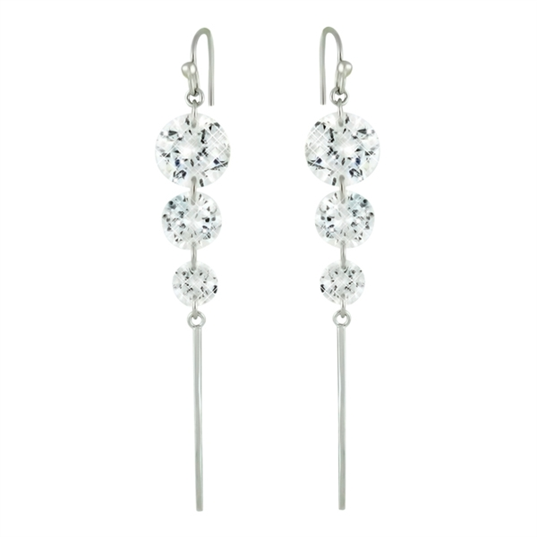 Charming Silver graduated CZ stick earrings