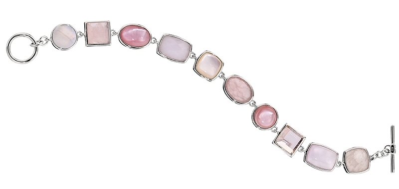 ELLE Time and Jewelry pink and white gemstone bracelet