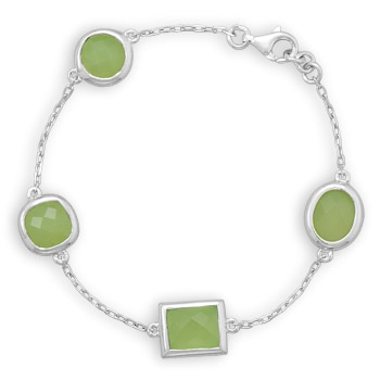 Silver Stars Collection phrenite station bracelet