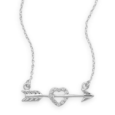 Silver Starts heart and arrow pendant