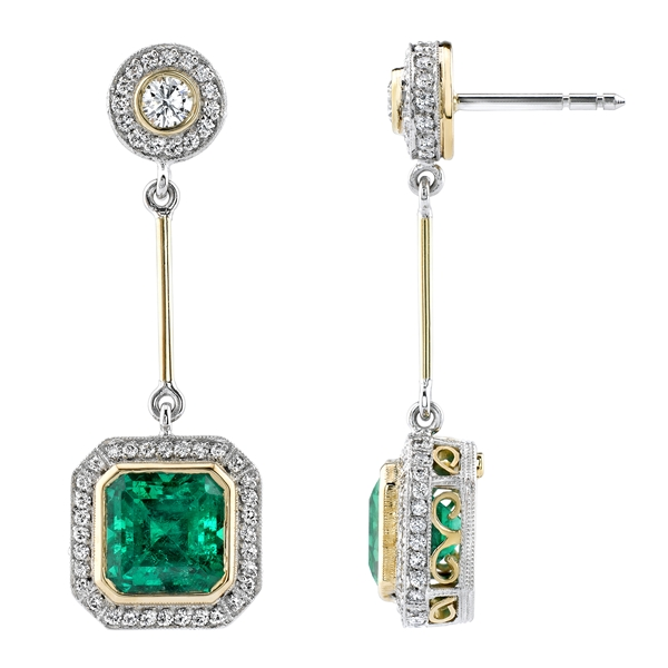 Omi Prive two-tone emerald drop earrings