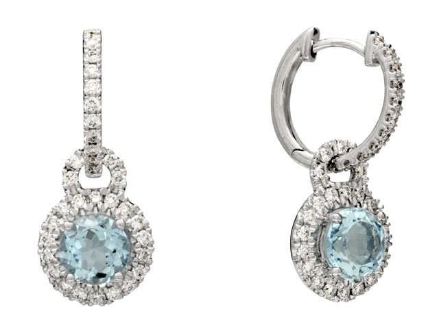 Carl K Gumpert aqua charm hoop earrings