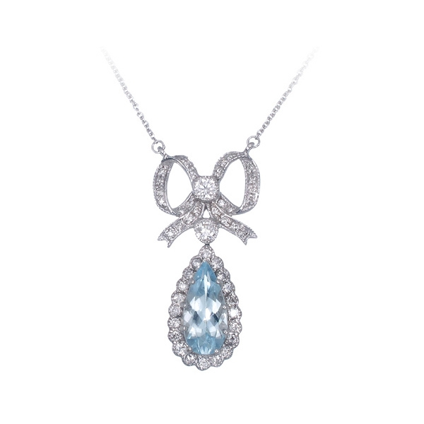 Savvy Jewelry aquamarine bow necklace