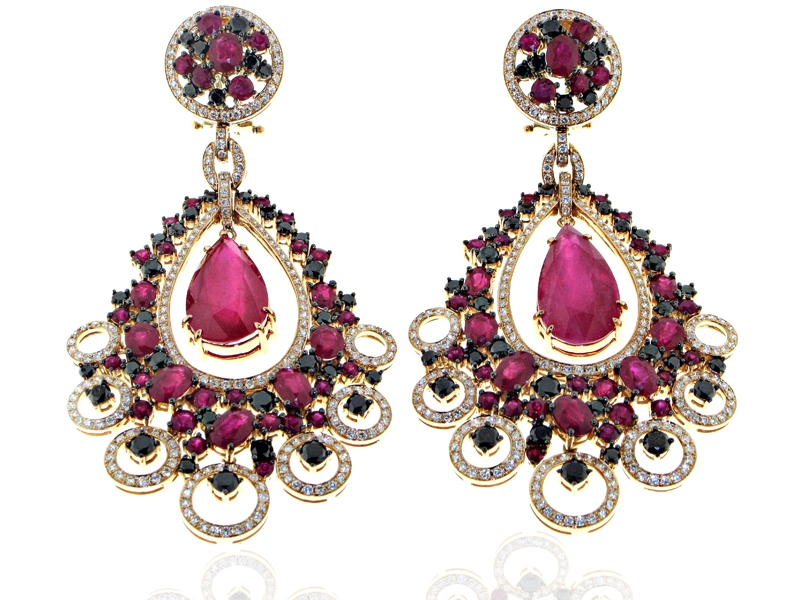 Ta's Jewelry ruby and diamond chandelier earrings