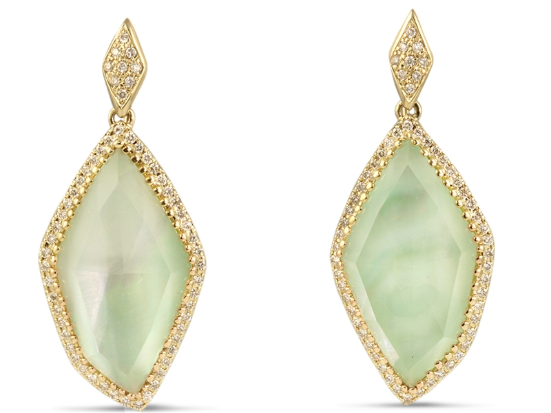 H. Weiss lime turquoise doublet earrings