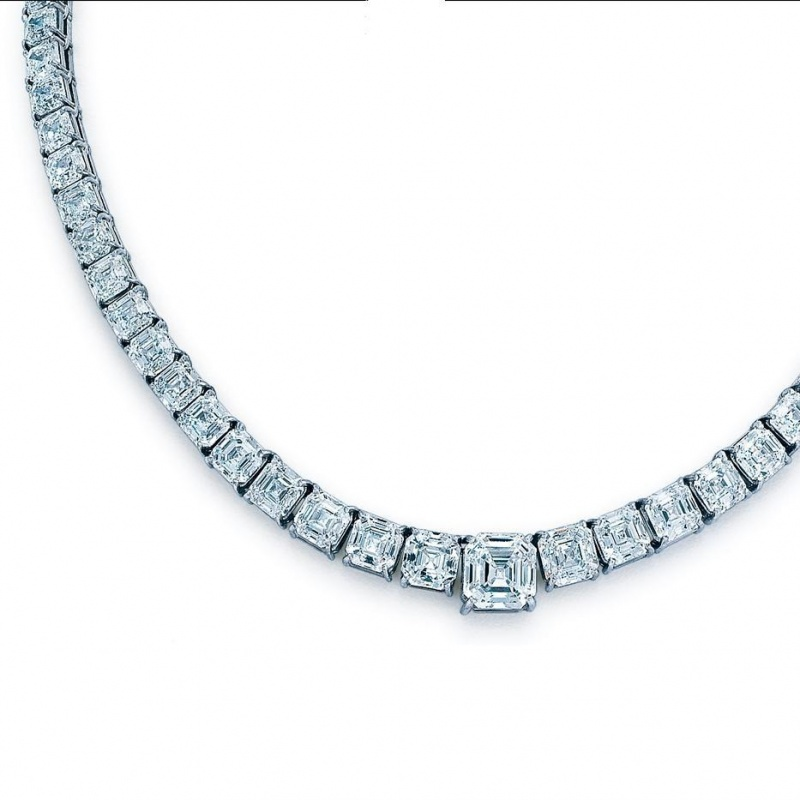 Goldstein Diamonds asscher-cut diamond riviera necklace