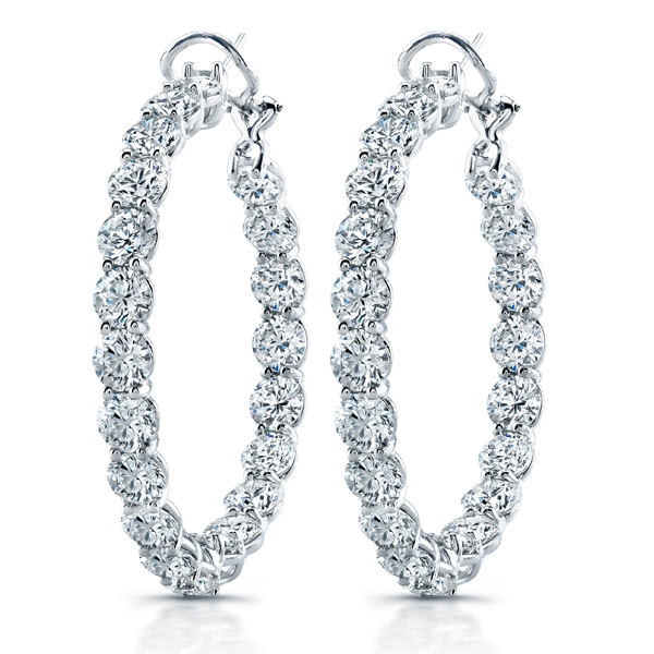 Norman Silverman round diamond hoop earrings
