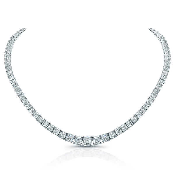 Norman Silverman asscher-cut diamond riviera necklace