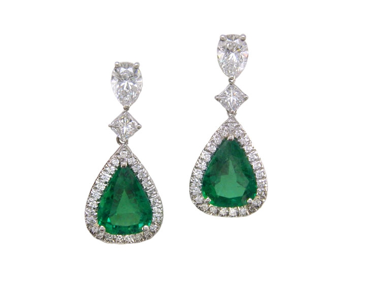 Oscar Heyman platinum emerald drop earrings