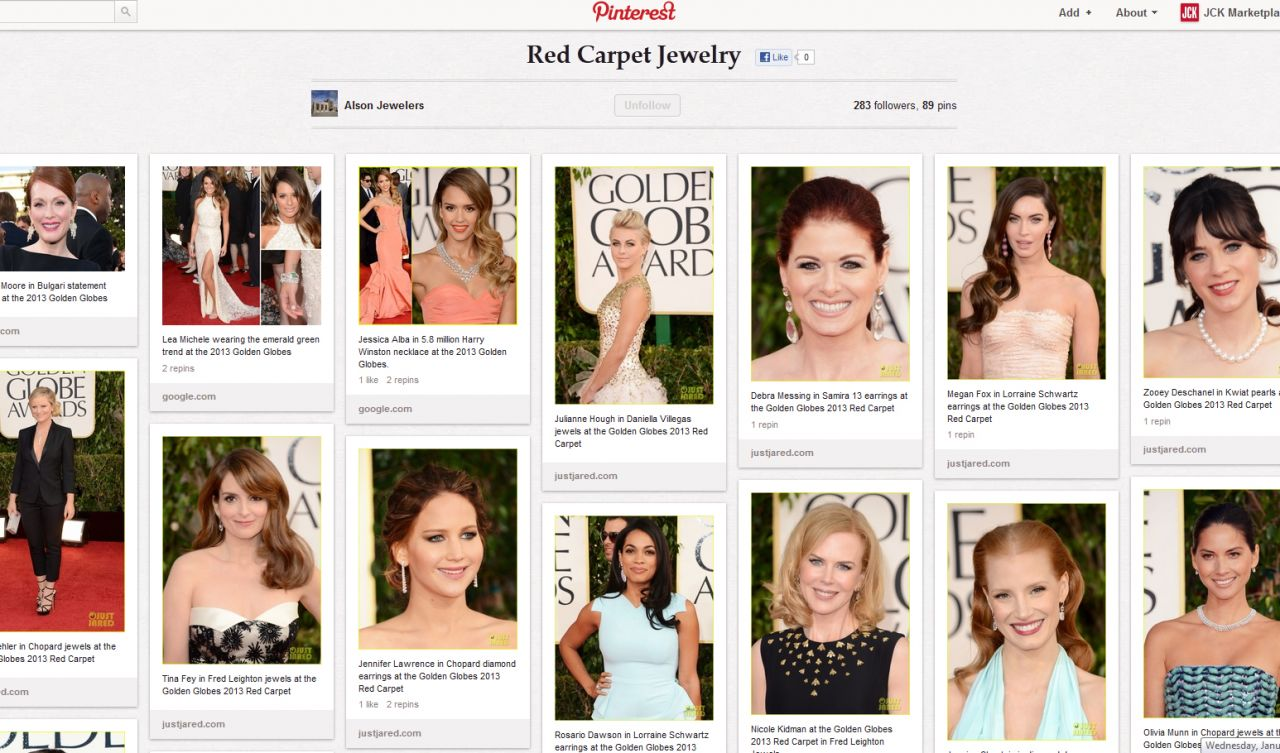 Alson Jewelers' red carpet Pinterest board