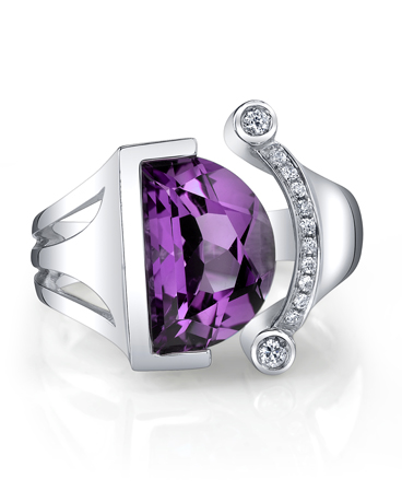 Amethyst, CZ, and silver ring by Ande Jewelry