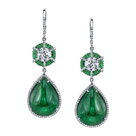 Dena Kemp emerald and diamond earrings