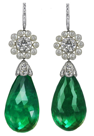 Jacob & Co. diamond and emerald earrings