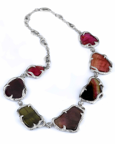 Supreme Jewelry one-of-a-kind watermleon tourmaline, diamond, and 18k gold necklace