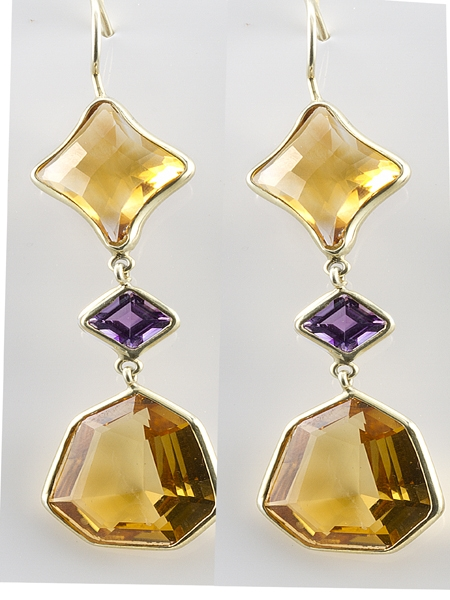 Haggai Collection citrine and amethyst drop earrings