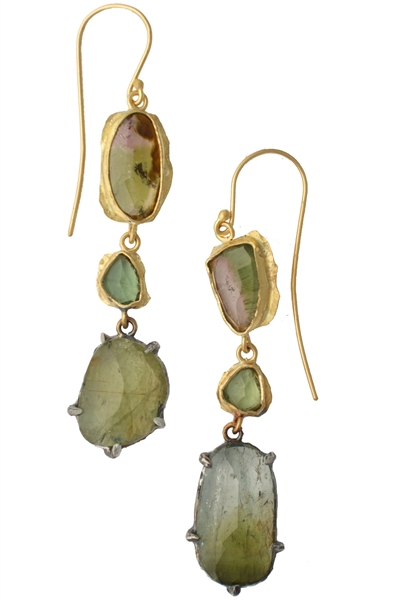Margery Hirschey tourmaline and apatite drop earrings