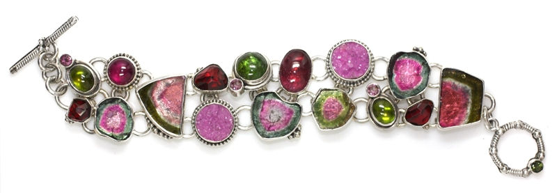 Echo of the Dreamer watermelon tourmaline and drusy bracelet