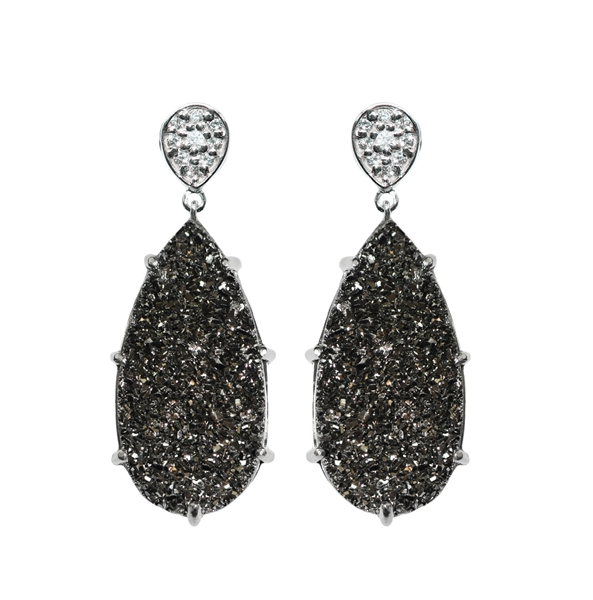 Anzie gunmetal drusy earrings