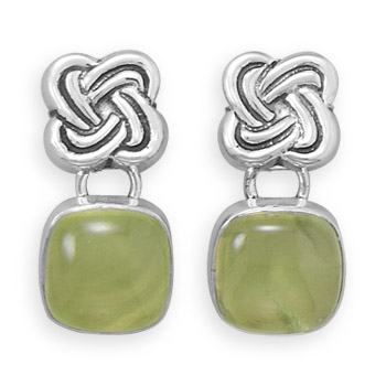 Silver Stars celtic prehnite earrings