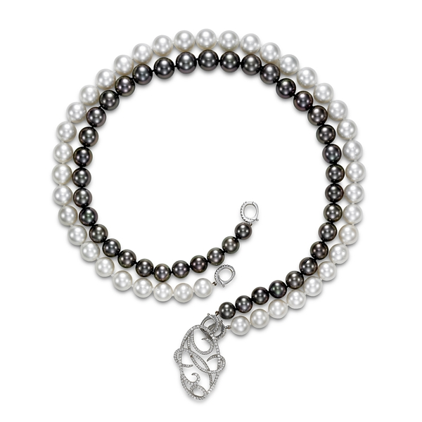 Mastoloni Pearls black and white double strand necklace