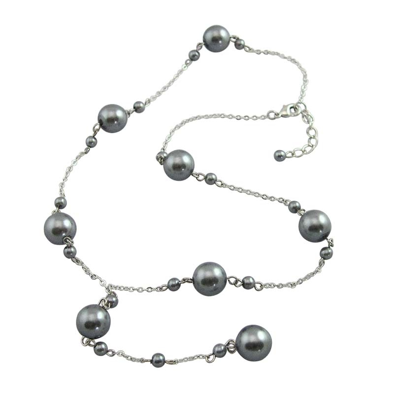 MY International gray pearl necklace