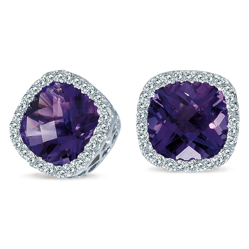 Color Merchants cushion-cut amethyst stud earrings