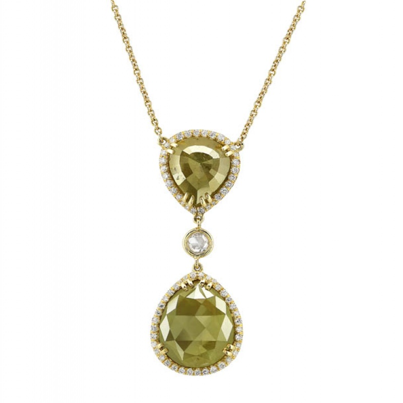 Rahaminov green polished rough diamond necklace
