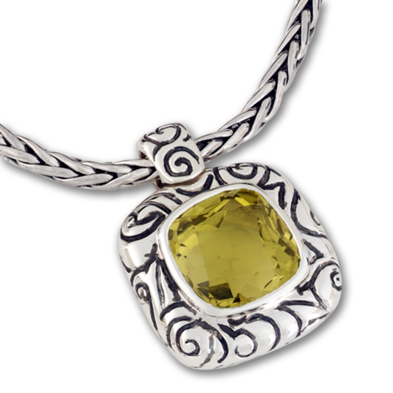 Zina Sterling Silver lemon quartz swirl enhancer