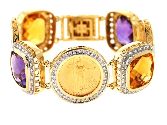 Liberty Investment Exchange gemstone and coin bracelet