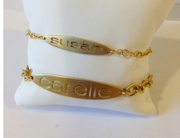 Carelle karat gold name bracelets