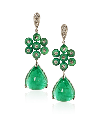 Goshwara earrings in emerald