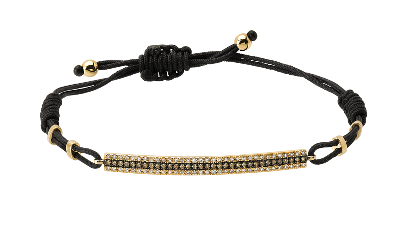 Majolie Bar bracelet in cord and 14k gold