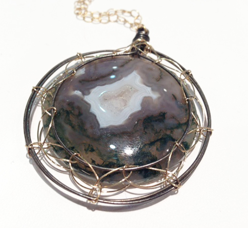 Misha of N.Y. agate drusy pendant necklace