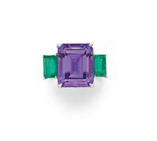 Amethyst and emerald ring sold by Christie's