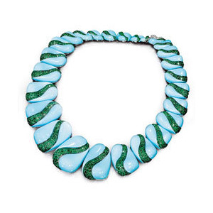 de Grisogono turquoise and emerald necklace