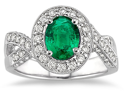 Oval Emerald Crisscross Ring