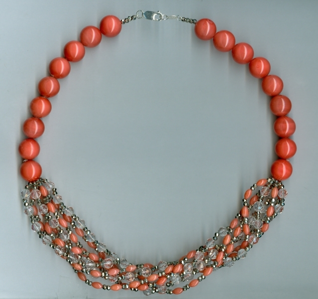Zoe B. Ltd. coral and pyrite necklace