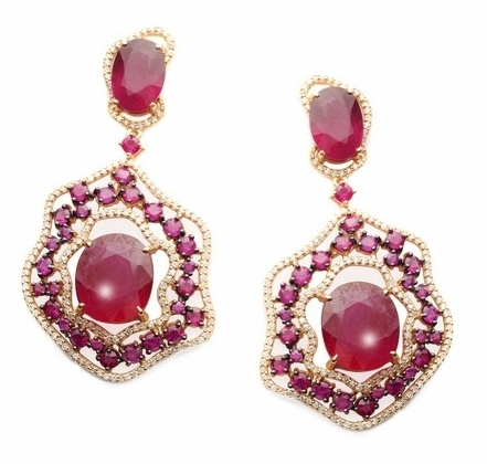 Vancox freeform frame ruby earrings