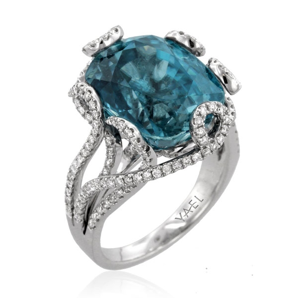 Yael Octopus blue zircon ring