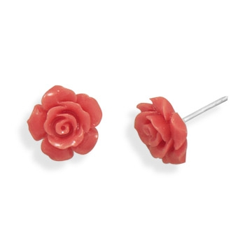 Silver Stars Collection glass rose stud earrings