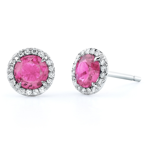 Omi Prive pink sapphire halo stud earrings