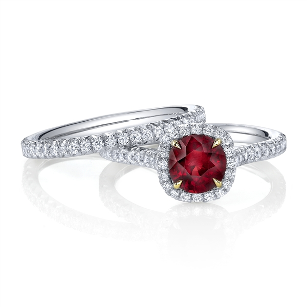 Omi Prive ruby halo wedding set
