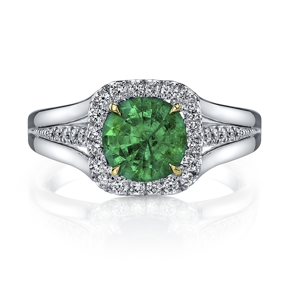 Omi Prive round emerald ring