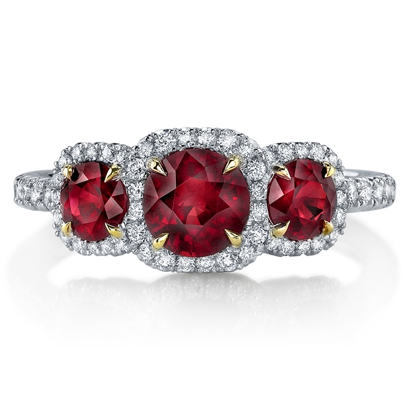 Omi Prive 3-stone ruby ring