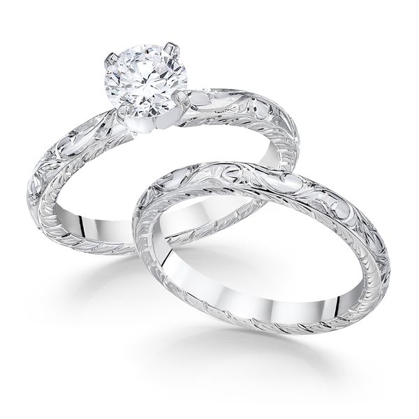 Whitehouse Brothers Colonial diamond engagement set