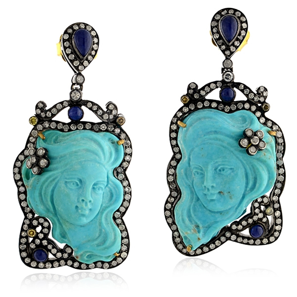 United Gemco carved turquoise earrings
